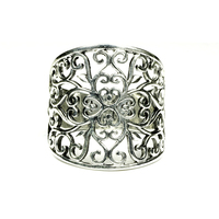 Genuine 925 Sterling Silver Hollow Vintage Flowers Ring For Women Wide Design Anel Feminino Alibaba Express