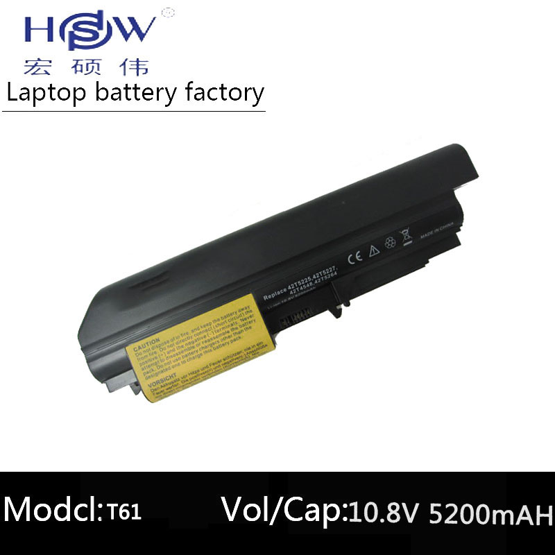 HSW 5200mAh Laptop Battery for IBM Thinkpad R61 R61i T61 T61p T61p 14 1 quot FOR Lenovo Thinkpad R400 T400 FRU 42T5262 bateria in Laptop Batteries from Computer amp Office