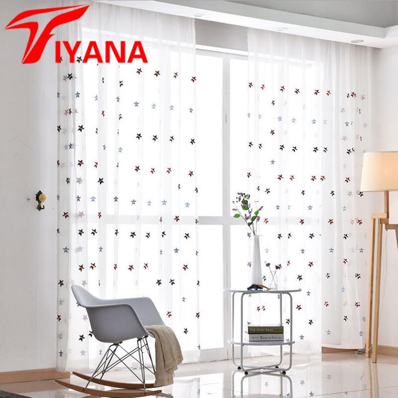 tiyana colorido estrella bordada tul cortinas para la sala de cocina nios habitacin ventana cortina