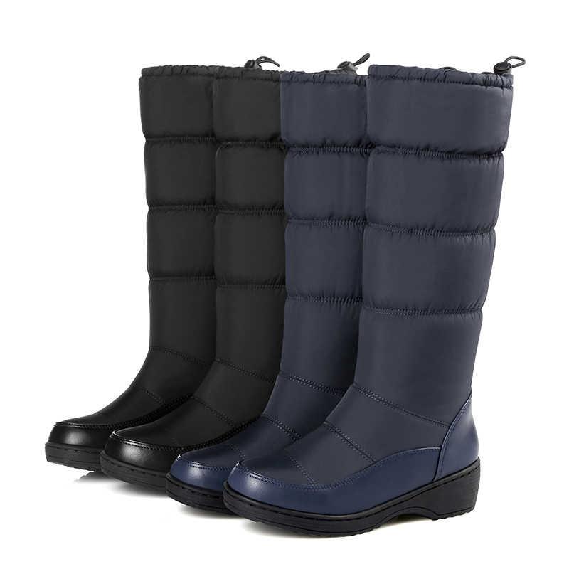WETKISS 2018 Yeni Kış Kar Kadın Botları Aşağı Pamuk Platform Çizmeler Diz Yüksek Sıcak Ayakkabı Moda Cleated kadın ayakkabısı