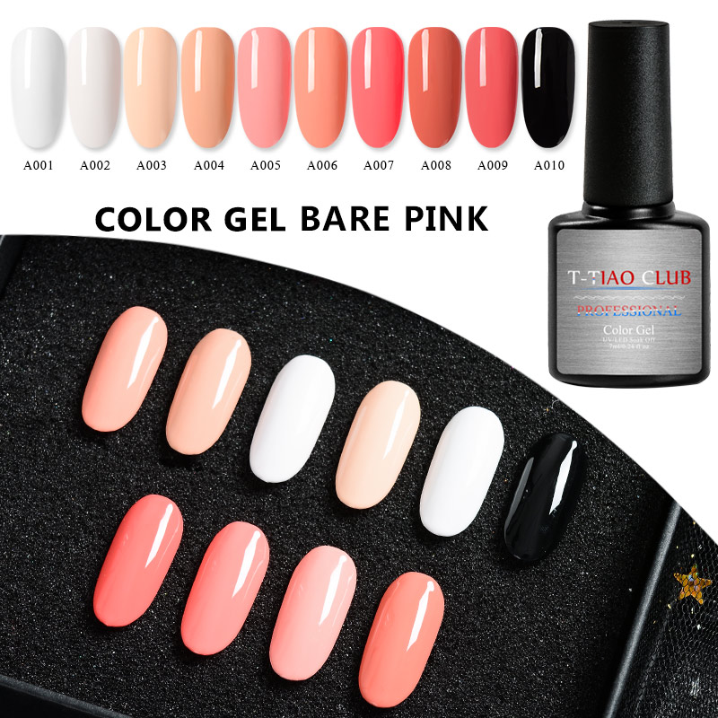 T TIAO CLUB 7ml Bare Pink Series Nail Gel Polish 10 Colors Soak Off UV Gel Varnish Long lasting Nail Art Decorations Manicure in Nail Gel from Beauty Health