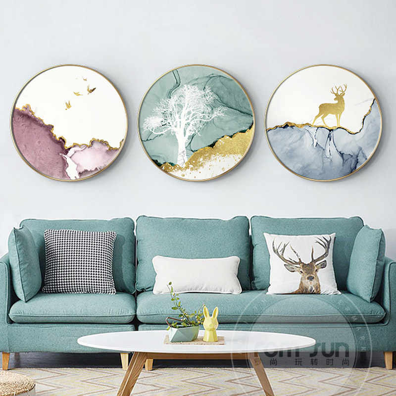 Abstract watercolor circle Canvas Painting Poster Print animal Wall Art Pictures For Living Room Bedroom Aisle cafe Unique Decor