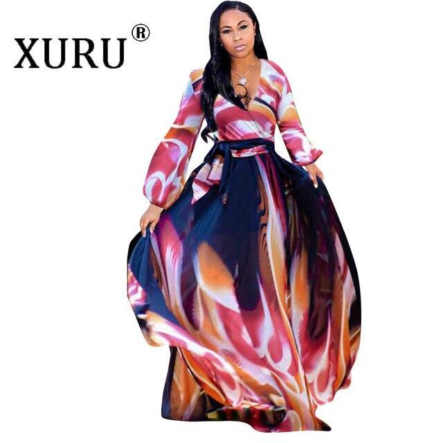 XURU chiffon print dress beach large size dress S-5XL women's long sleeve V-neck casual loose dress 5