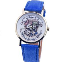 2016 New Harry Potter Hogwarts School Design Magic School Watch, Hogwarts Magic Pattern Badges Leather Watch Unisex Watch(China (Mainland))