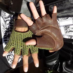 Image 2 - 2018 De Nieuwste Lederen Half Vinger Mesh Ademende Handschoenen Koeienhuid + Gebreide Handschoenen Unisex A149 5