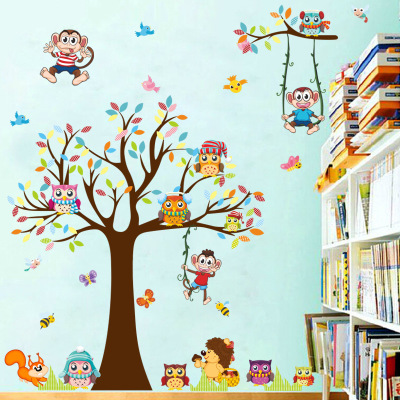Búho de dibujos animados en el árbol Pared de vinilo Stcker Inicio calcomanía Swing Monkey Animal Friend Kids Habitaciones Decoración de la pared Nursery Wall Art Wallpaper