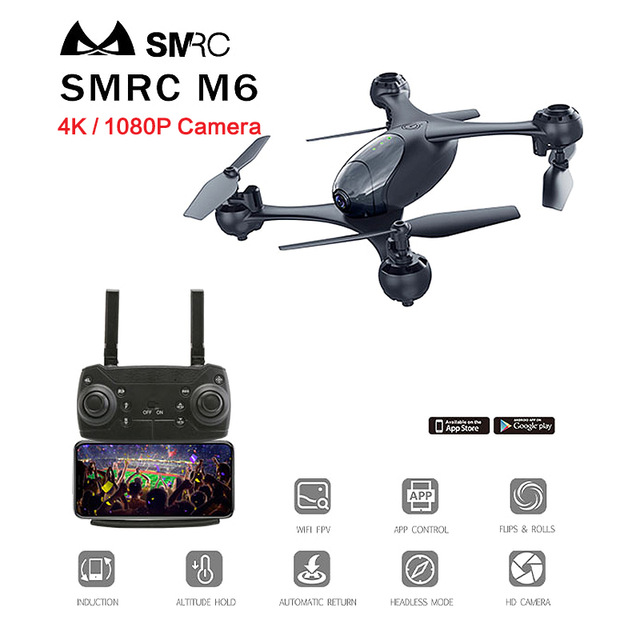 New Arrival SMRC M6 4K 1080P RC Drone with Camera Hd Mini Quadcopter with Double Camera Remote Control Helicopter WIFI FPV-in RC Helicopters from Toys & Hobbies