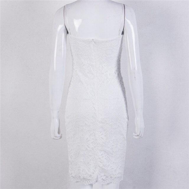Sexy Summer Lace Elegant Party Bodycon Dress For Women V-Neck Spaghetti Strap Knee-Length Women's Dresses vestidos de fiesta 5