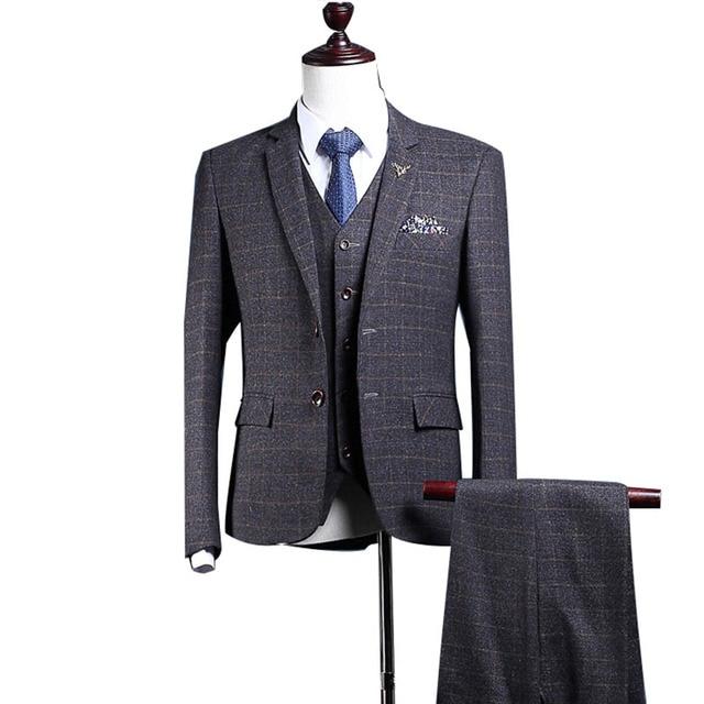 Aliexpress.com : Buy Dark Grey Plaid Suit Men Slim Fit Custom Made ...