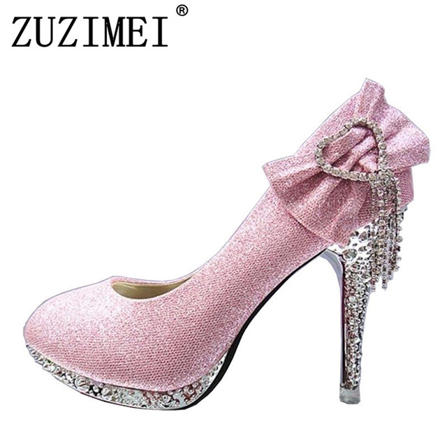 2018 Women Pumps Wedding Shoes Woman Butterfly-knot Bridal Shoes Rhinestone  Lace Ladies Shoes High Heels Platform Size 34-41 20277bf1647f