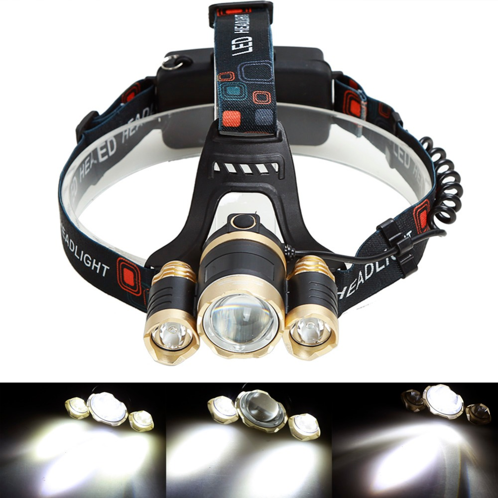 GOLD 1 T6 2 R2 6000LM LED zoomable zoom Headlight Headlamp Bike Lamp Outdoor lampe frontale