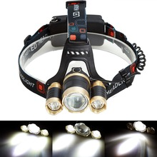 GOLD 1*T6+2*R2 6000LM LED zoomable zoom Headlight Headlamp Bike Lamp Outdoor lampe frontale Rechargeable Hunting Light 2X 18650