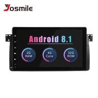 Josmile 1 Din Android 8,1 Автомобильный мультимедийный плеер для BMW E46 M3 Rover 75 купе навигация Авторадио аудио 318/320/325/330/335