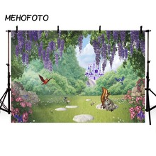 Get more info on the Vinyl Photography Background Spring Wisteria Flower Castle Squirrel Bird Rabbit Floral Children Backdrop Photo Studio
