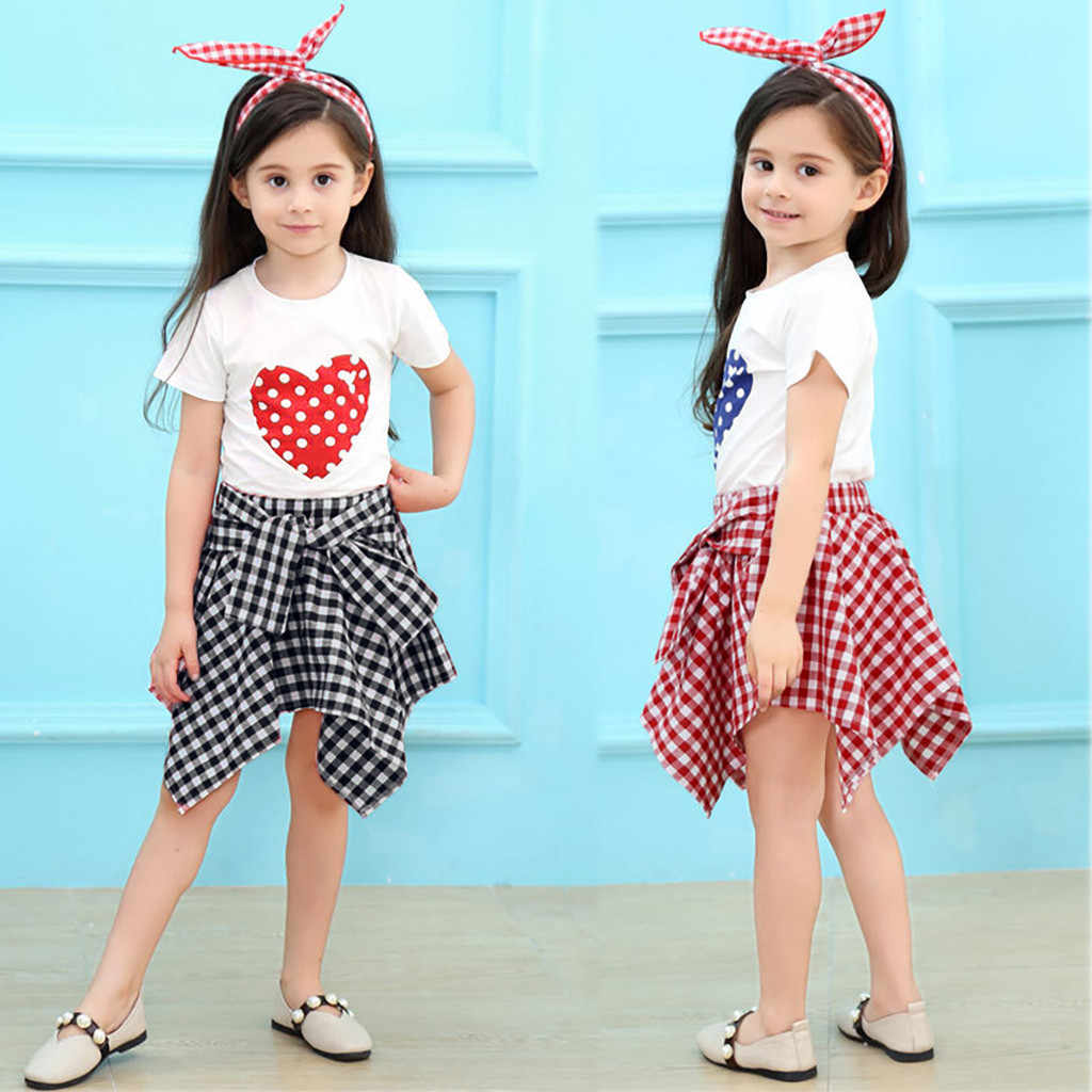 Toddler Baby Girls Sets Short Sleeve Love Dot T-shirt Tops+Plaid Skirts 2Piece Kids Outfits Child Clothes 1-5 Years birthday