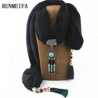 RUNMEIFA Hot Hijab Jewelery Cotton Hijab Alloy Jewellery Scarf Sarong Pareo Wholesale China