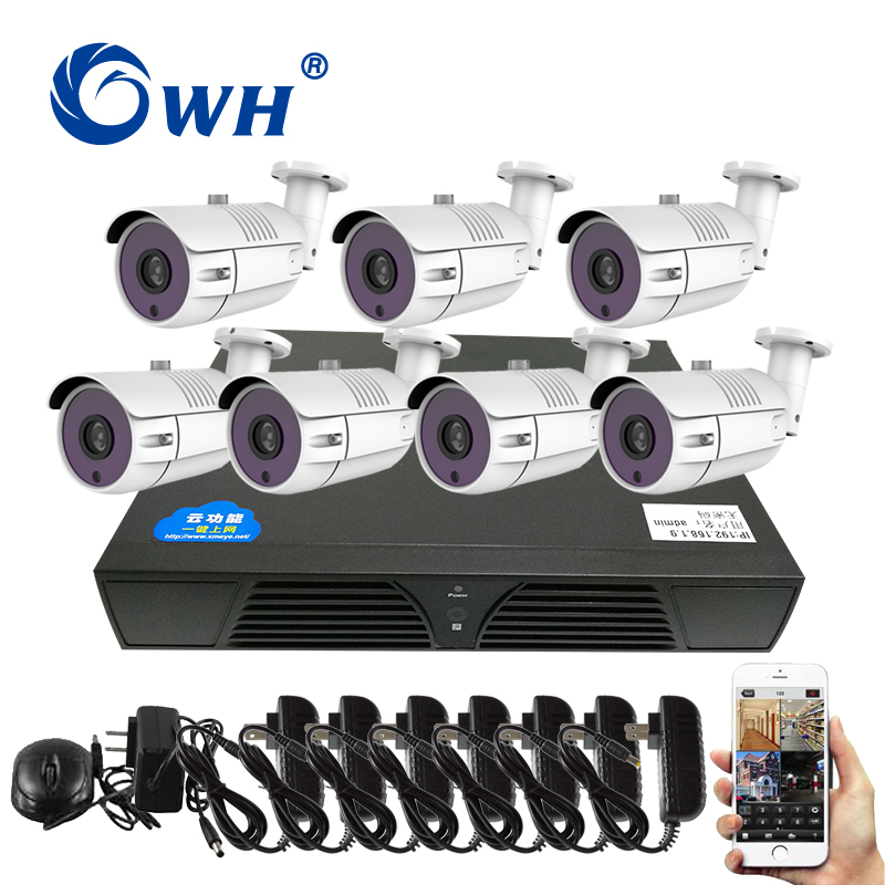 CWH 7CH Video Surveillance Kit HD Analog AHD DVR Camera System 1MP 720P CCTV Security Sets with Power Adapter Phone ViewCWH 7CH Video Surveillance Kit HD Analog AHD DVR Camera System 1MP 720P CCTV Security Sets with Power Adapter Phone View