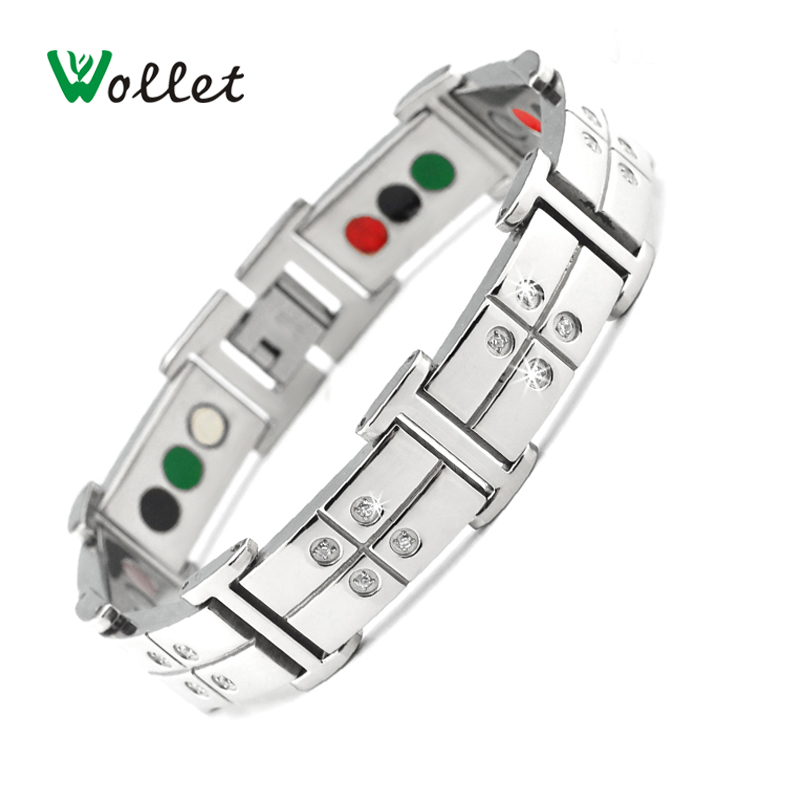 все цены на Wollet Jewelry Magnetic Titanium Bracelet bangle CZ Stone For Men Health Tourmaline Germanium Powder Infrared Magnets