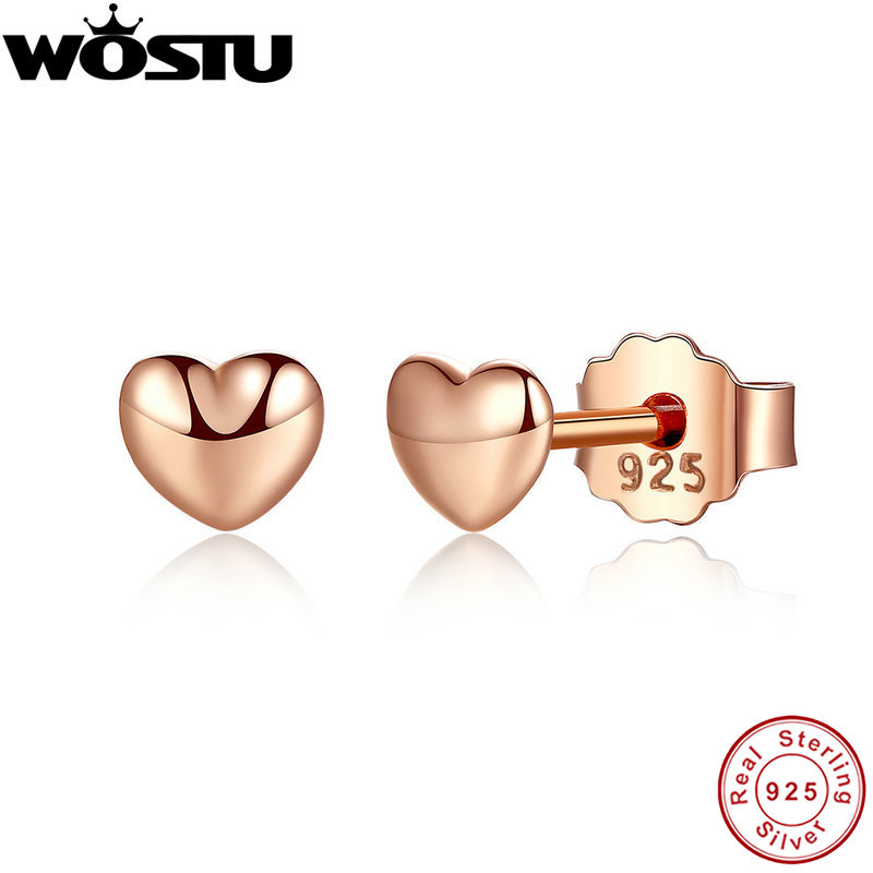 Véritable 100% 925 en argent Sterling et or Rose couleur Petite boucles d'oreilles coeurs pour femmes femme authentique Original bijoux XCHS440