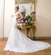 Free Shipping Mermaid Spaghetti Strap Sweetheart Court Train Detachable Skirt Wedding Dress With Appliques JL009