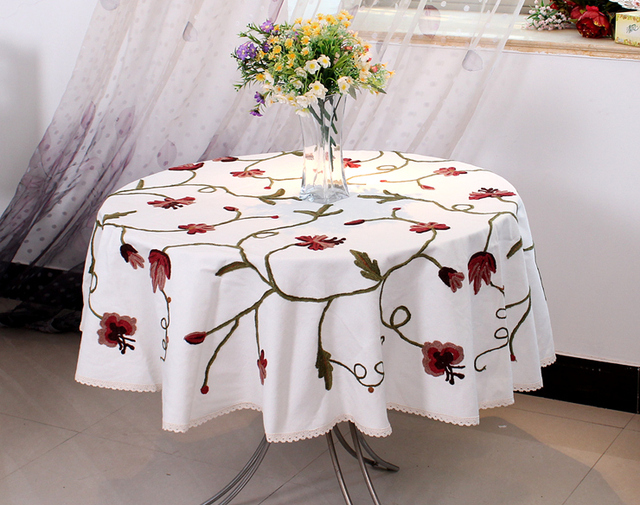 XT Luxury Embroidered Tablecloth Table Dining Round Table Cover Table Cloth  Wedding Cotton 209 Flower Chair