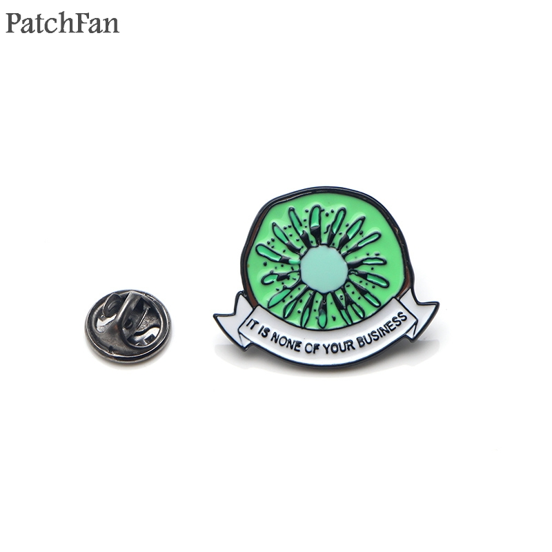 Patchfan Kiwi letter it is none of your business Zinc Enamel pins para backpack shirt clothes brooches badges A1504