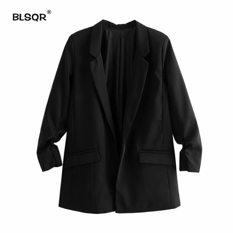 Suits & Sets Fashion Autumn Women Blazers And Jackets Work Office Lady Suit Slim Black None Button Business Female Light Blue Blazer Coat Selling Well All Over The World