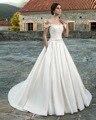 Dreagel Romantic Double Spaghetti Straps Boat Neck Appliques Wedding Dress 2017 Chic Sashes Bow Satin Ball Gown Robe de Mariage