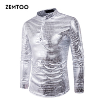 zemtoo Mens Night Club Coated Metallic Halloween Gold Silver Single Breasted Shirts Party Male Shiny Long Sleeves Shirts ZE0329