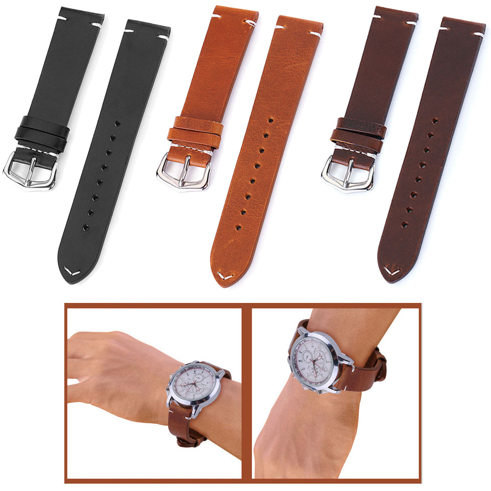 Watch Band 24mm 22mm 21mm 20mm 19mm 18mm Thread Genuine Leather Watchband Replacement Watch Strap Belt Wristband Accessories