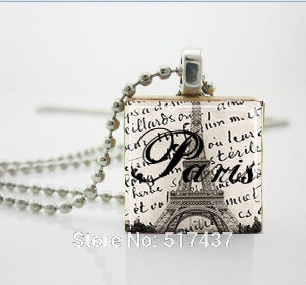 Ожерелья Подвески Vintage, Париж Эйфелева Башня Ювелирные Изделия Эрудит Плитка Подвеска с Шариковой Цепью Ожерелье Включены