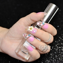 24pcs Kit Full French Finished Nails Long Round 3D Fake Nail Art Tips With Flowers Crystals Decoration Faux Ongles Z718
