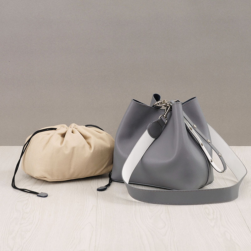 New 2018 genuine leather women's handbag Fashion bucket bag Spell color design Ladies Tote Cowhide shoulder bag crossbody bags 2018 new style genuine leather woman handbag vintage metal ring cloe shoulder bag ladies casual tote fashion chain crossbody bag