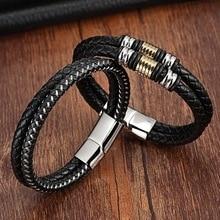 XQNI 2017 Fashion Charm Bracelets 316L Stainless Steel Chain Genuine Bracelets Men Double Layer Leather Bracelets for women