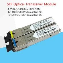 1Pair SFP Optic Module SFP-GE-LX-SM1310-BIDI SC SMF 1.25Gb/s Tx1310nm/Rx1550nm 20km DDM free shipping in stock 100%new and original 3 years warranty ge sfp lh40 sm1550 bidi 40km