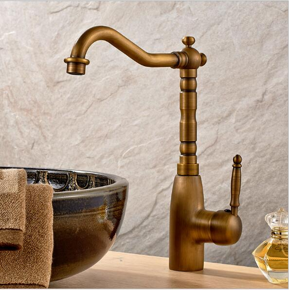 Free shipping new style antique brass kitchen faucet luxury kitchen sink tap basin faucets mixer tap hot and cold water tap