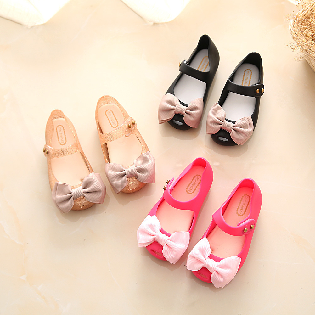 Mini Melissa Children Fashion Kids Casual Cute Princess Big Bows Rivets Clear Sneaker Clogs Beach Mule Girls Jelly Shoes Sandals