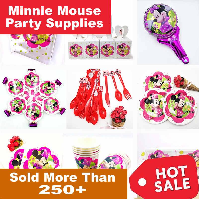 Minnie Mouse Decorações Do Partido Dos Miúdos Placas Copo Talheres Descartáveis Toalha de Mesa Feliz aniversário Festa de Aniversário cor de Rosa Vermelho enfant