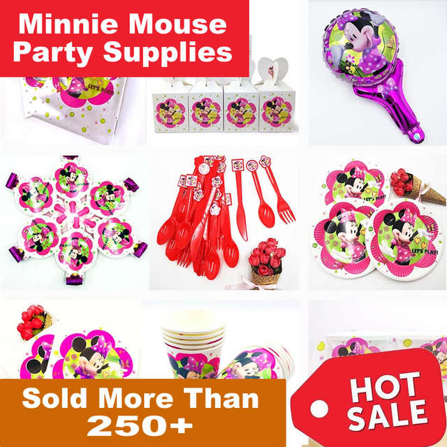 Us 0 59 46 Off Minnie Mouse Party Decorations Kids Disposable Tableware Plates Cup Tablecloth Happy Birthday Red Pink Party Anniversaire Enfant In