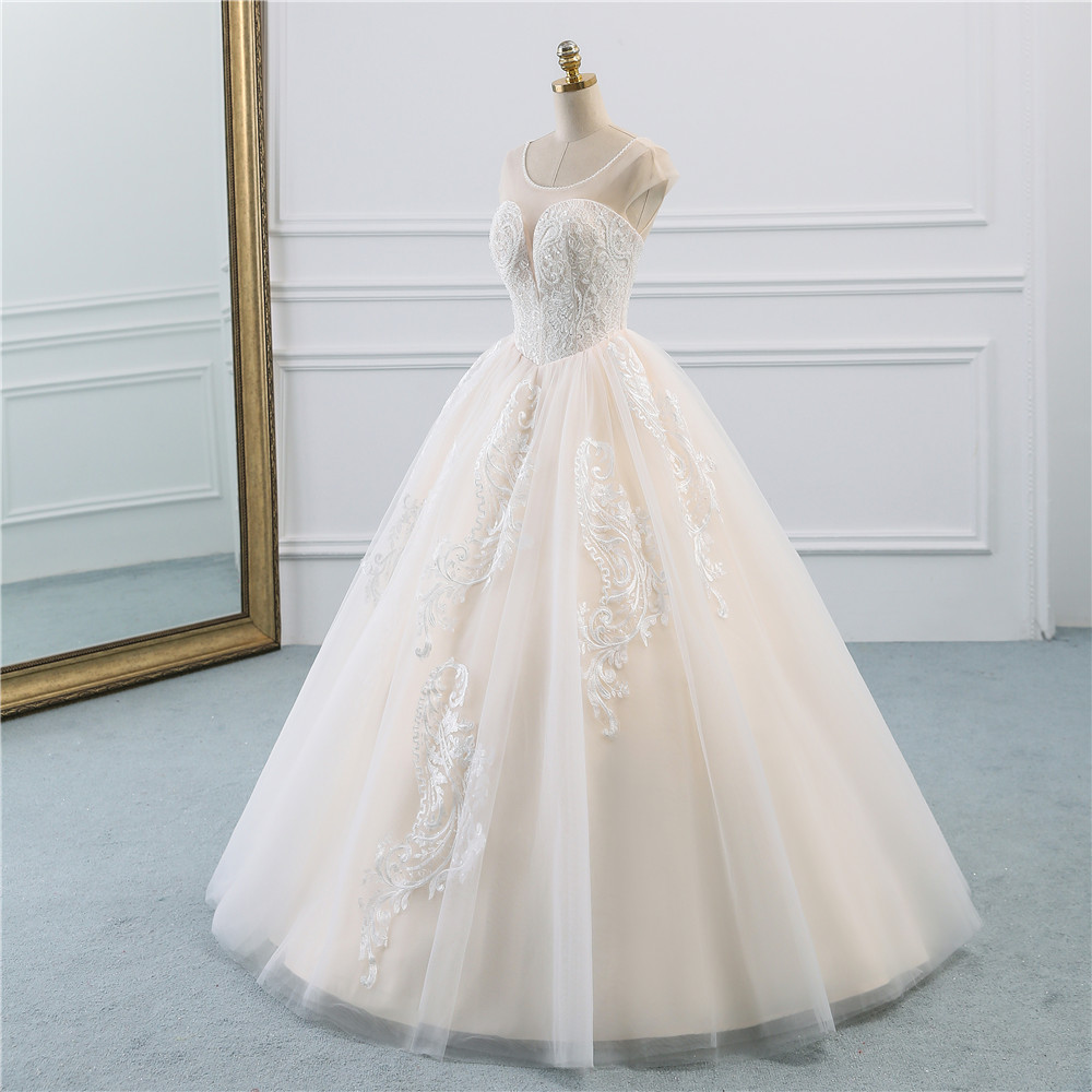 Image 2 - Fansmile Illusion Vintage Princess Ball Gown Tulle Wedding Dresses 2019 Quality Lace Plus size Wedding Bride Dresses FSM 520F-in Wedding Dresses from Weddings & Events