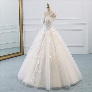 Image 2 - Fansmile Illusion Vintage Princess Ball Gown Tulle Wedding Dresses 2020 Quality Lace Plus size Wedding Bride Dresses FSM 520F
