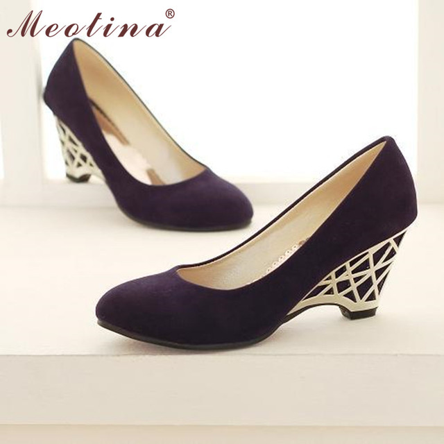 Meotina High Heels Women Wedge Heels Shoes Cheap Gold High Heels Office Ladies Red Pumps Spring Autumn Shoes Purple Size 34 -39
