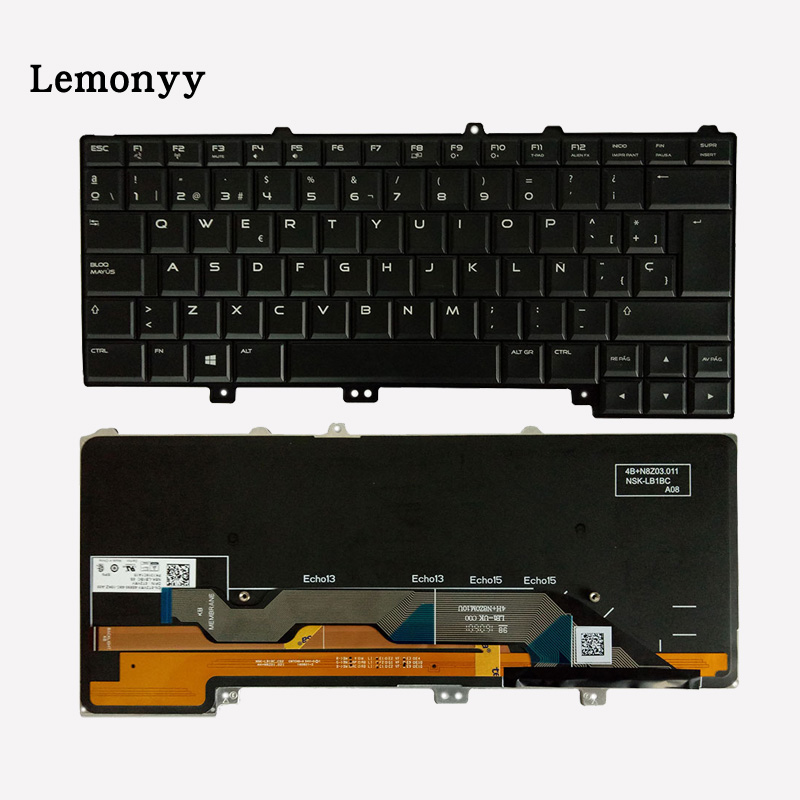 NEW Spain laptop keyboard for DELL Alienware 13 R1 & 13 R2 Keyboard SP with Backlit new ru for lenovo u330p u330 russian laptop keyboard with case palmrest touchpad black