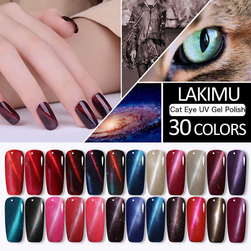 LAKIMU Cat's Eyes Magnetic Nail Art UV Gel Nail Polish Lucky Magnetic Nail Gel Chameleon Gel Lacquer Permanent Professional