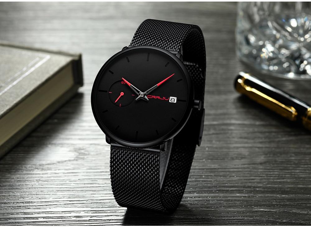 Crrju Sports Date Mens Watches Top Brand Luxury Waterproof Sport Watch Men Ultra Thin Dial Quartz Watch Casual Relogio Masculino 18