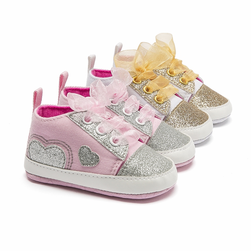 Adela Flower Cute Bling Bling Baby Girl Shoes Lace-Up Soft Sole Shoes Prewalker Walking Toddler Kids Sneakers Shoes 0-18 Months