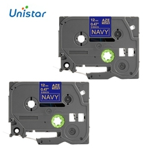 Unistar 2pcs TZe Satin Ribbon compatible for Brother P Touch 12mm TZe-RN34 TZ-RN34 Label Tape Navy Color PTD200, PTD600 Printer