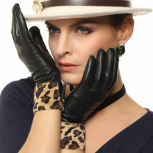 2019 New Womens Genuine Leather Gloves Female Fashion Wrist Leopard Sheepskin Autumn Winter Velvet Lined L127NC-1