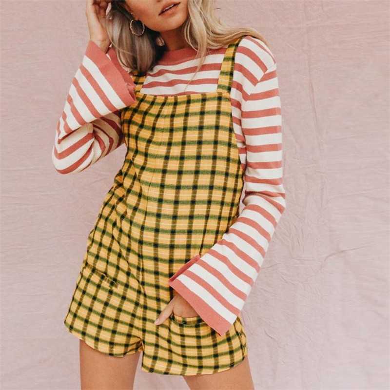 Feitong 2018 fashion Women summer jumpsuit Casual Plaid Adjustable Cotton Pockets Elastic Band Shorts rompers Playsuit