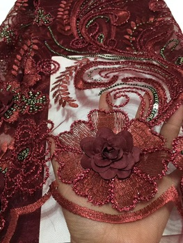 Latest 2018 African Lace Fabric With Sequins Nigerian Wedding Embroidered 3D Flower French Tulle Lace Material For Bridal CD2135
